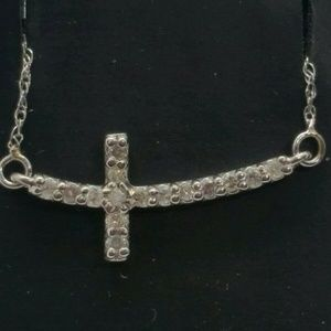 GENUINE DIAMOND NEW SIDEWAYS CROSS NECKLACE 14KT